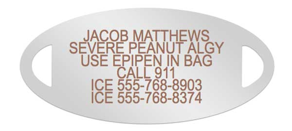 Food Allergy Medical ID Engraving
